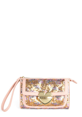Betsey Johnson Glisten Closely Clutch by Betsey Johnson - Pink, Multi, Sequins, Formal, Prom, Party, Cocktail, Girls Night Out, Fairytale, Holiday Party