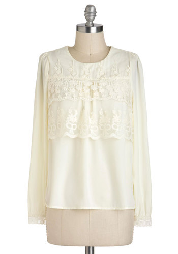 Demure My Darling Top - Cream, Solid, Lace, Long Sleeve, Mid-length, Work
