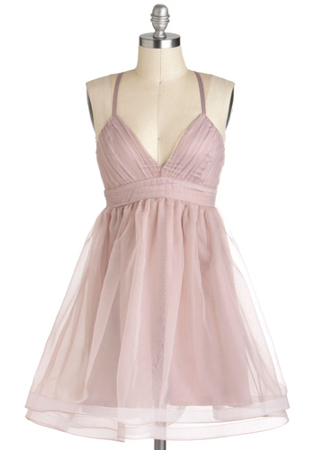 Lavender Blush Dress - Mid-length, Pink, Solid, Prom, Pastel, Empire, Spaghetti Straps, Ballerina / Tutu
