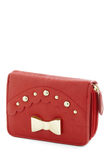Says It All Wallet - Red, Solid, Bows, Scallops, Studs