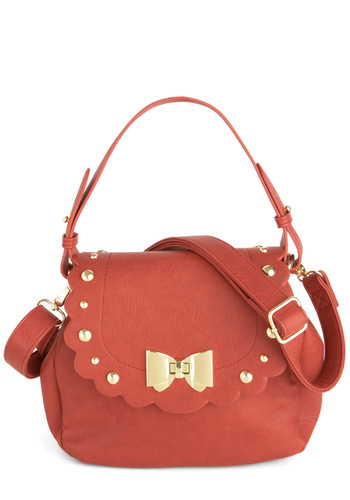 Says It All Bag - Red, Solid, Bows, Scallops, Studs