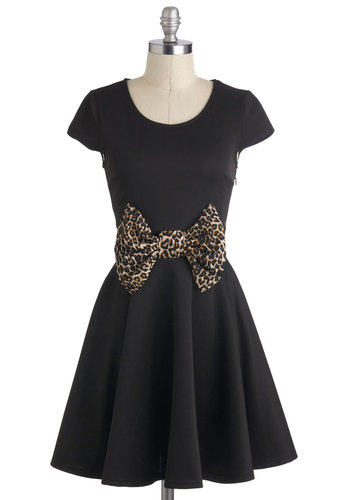 Cutting a Jitterbug Dress - Black, Brown, Animal Print, Bows, Party, A-line, Cap Sleeves, Mid-length