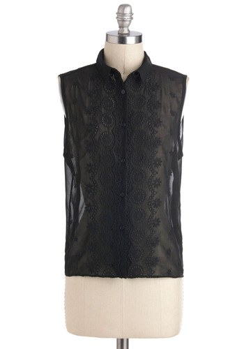 Noir from Home Top - Black, Solid, Buttons, Sleeveless, Sheer, Chiffon, Short, Party, Work, Film Noir, French / Victorian