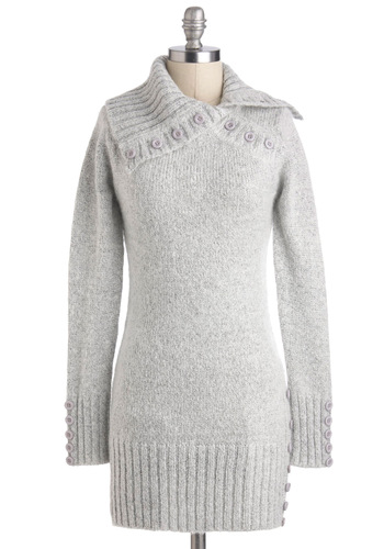 Pearl Grey Tea Sweater - Grey, Solid, Buttons, Casual, Long Sleeve