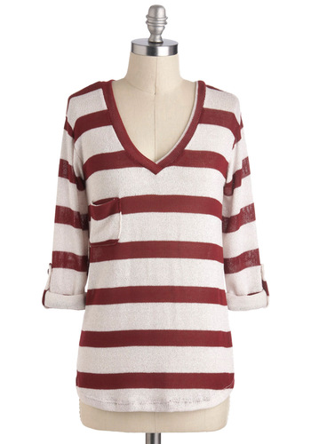 Sweet as Candy Cane Top - Cream, Red, Stripes, Casual, Long Sleeve, V Neck, Mid-length