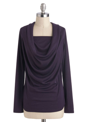 Day to Nightshade Sweater - Mid-length, Purple, Solid, Casual, Long Sleeve, Cowl