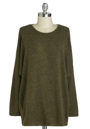 Oh Manzanilla Sweater - Long, Green, Solid, Casual, Long Sleeve, Minimal, Rustic