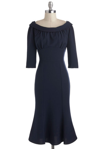 Candid Debate Dress by Stop Staring! - Blue, Solid, Pinup, Shift, 3/4 Sleeve, Long, Cocktail, Special Occasion, Holiday Party, Vintage Inspired, 40s