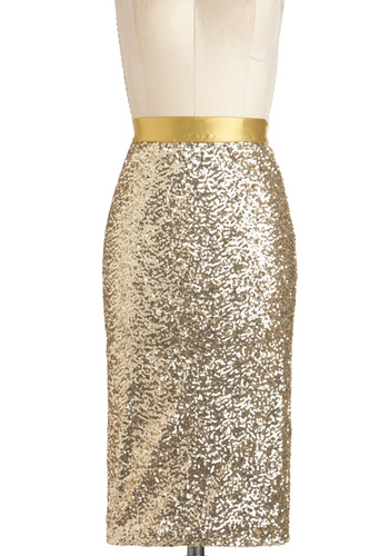 Sequin and Shine Skirt - Gold, Solid, Sequins, Party, Holiday Party, Long