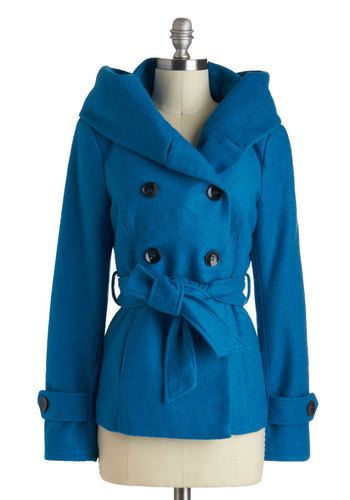 Glimpse of Glaciers Coat - Mid-length, 3, Blue, Solid, Buttons, Belted, Double Breasted, Long Sleeve, Pockets, Casual, Winter, Tis the Season Sale