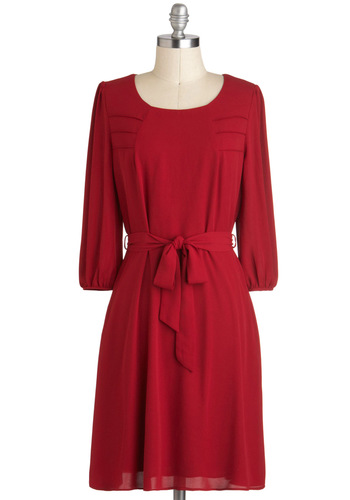 Apple Pie Perfection Dress - Red, Solid, A-line, Work, Mid-length, Belted, 3/4 Sleeve