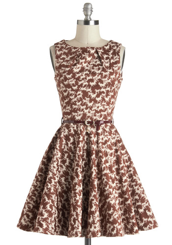 Luck Be a Lady Dress in Equine - Fit & Flare, Cotton, Mid-length, White, Print with Animals, Exposed zipper, Pockets, Belted, Daytime Party, Sleeveless, Brown, Vintage Inspired, 60s, Tis the Season Sale, Variation, Basic