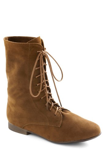 Lady in Rad Boot in Camel - Tan, Solid, Casual, Flat, Lace Up, Tis the Season Sale, Rustic, Variation