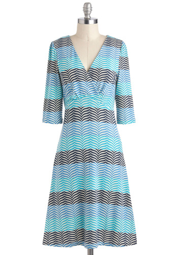 Play to Fin Dress - Sheer, Long, Blue, Stripes, Casual, Nautical, 3/4 Sleeve, V Neck, Black, White, Tis the Season Sale