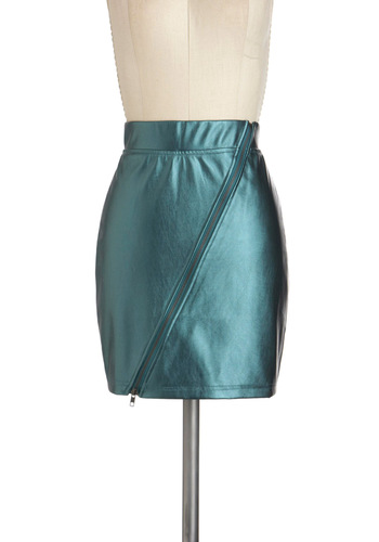 Heavy Metallic Skirt - Blue, Solid, Exposed zipper, Girls Night Out, Mini, Faux Leather, Short, 80s, Urban