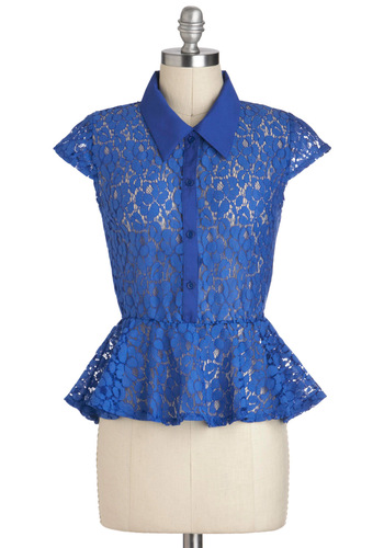 Self-Azured Top - Blue, Solid, Buttons, Lace, Cap Sleeves, Sheer, Mid-length, Peplum