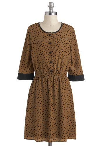 Coffee and Cocoa Dress - Brown, Black, Polka Dots, Buttons, Casual, 3/4 Sleeve, Mid-length, Shirt Dress, Crew