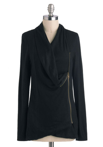 Airport Greeting Cardigan in Black - Black, Solid, Exposed zipper, Long Sleeve, Jersey, Knit, Mid-length