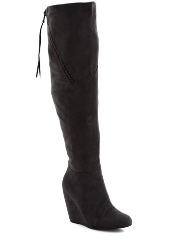 Charcoal Your Heels Boot - Grey, Solid, Exposed zipper, Wedge