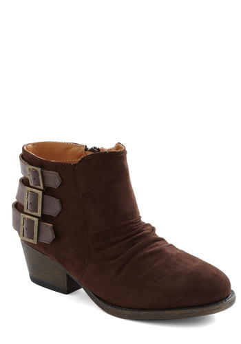 Footloose and Fancy Three Bootie - Brown, Solid, Buckles, Steampunk, Casual, Rustic