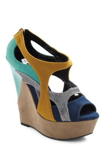 Aquarium Fantasy Wedge - Cutout, Exposed zipper, Wedge, Peep Toe, Multi, Party