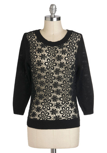 Night Flurry Sweater - Black, Solid, Lace, Cotton, Short, Casual