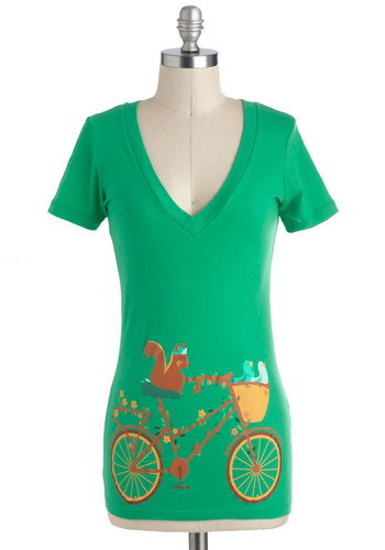 Tour de Forest Top - Green, Yellow, Blue, Brown, Casual, Short Sleeves, V Neck, Mid-length, Novelty Print, Summer, Travel, Top Rated