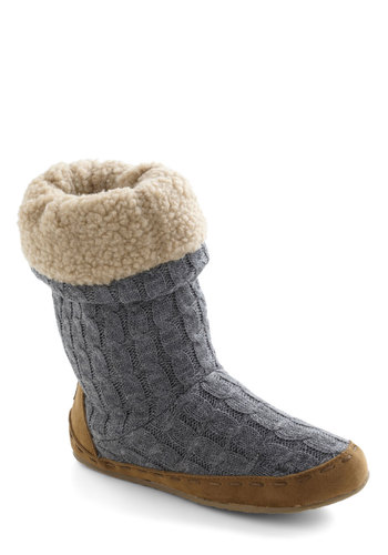 Cozy Cachet Slipper in Charcoal - Blue, Tan / Cream, Rustic, Winter, Flat