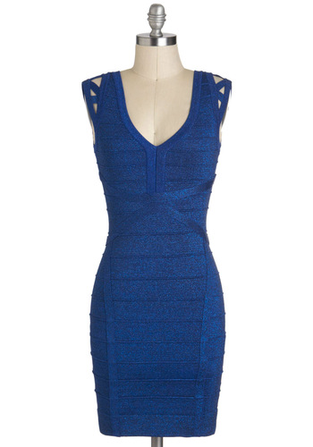 Shine Like the Starlets Dress - Blue, Solid, Cutout, Girls Night Out, Bodycon / Bandage, Short