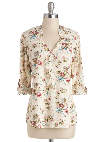 Centerpiece of Style Top - Mid-length, Cream, Green, Blue, Pink, Floral, Buttons, Work, Daytime Party, 3/4 Sleeve