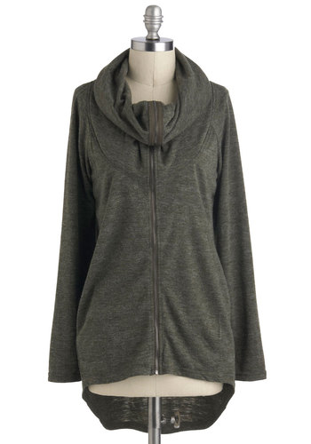 Pretty Ease Cardigan - Mid-length, Green, Solid, Casual, Long Sleeve, Pockets, Minimal