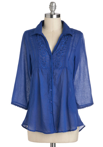 Seaside Residency Top - Cotton, Sheer, Mid-length, Blue, Solid, Buttons, Embroidery, Work, 3/4 Sleeve, Collared, Pockets, Boho, Scoop