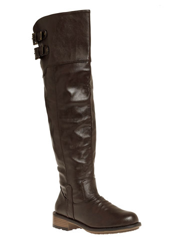 All Day, Every Way Boot - Brown, Solid, Buckles, Steampunk, Over the Knee, Low, Faux Leather, Tis the Season Sale