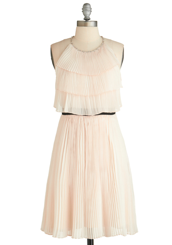 Takes the Cupcake Dress - Mid-length, Pink, Pleats, Tiered, Pastel, A-line, Sleeveless, Solid, Beads, Exclusives, Prom, Party