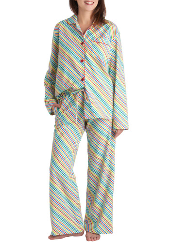 Roy Gee Whiz Pajamas - Multi, Stripes, Pockets, Button Down, Long Sleeve, Collared, Cotton