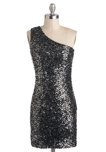 A Little Reflect Dress - Black, Sequins, Party, Shift, One Shoulder, Short, Silver, Holiday Party, Tis the Season Sale