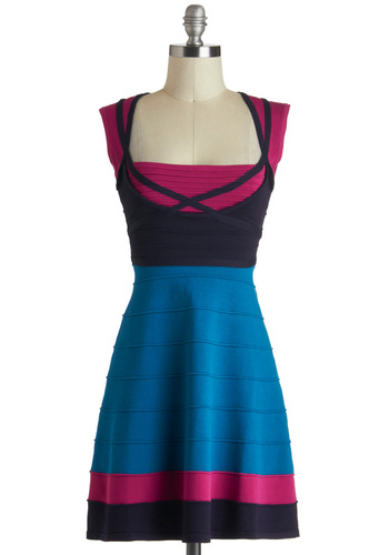 Guac n' Roll Dress in Blue and Pink Plate - Short, Blue, Pink, Casual, Colorblocking, A-line, Sleeveless, Variation