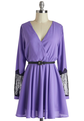 Higher and Hyacinth Dress - Short, Purple, Lace, Belted, Party, A-line, Long Sleeve, V Neck