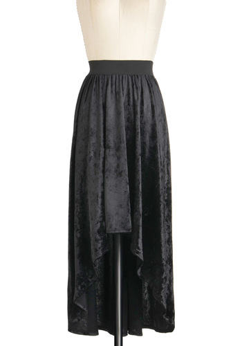 Velvet Crush Skirt - Black, Solid, Party, High-Low Hem, 90s, Mid-length