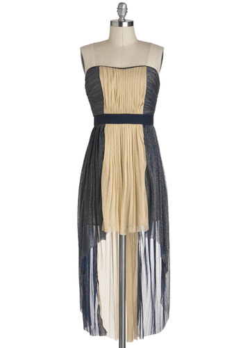 Sparkling Dessert Wine Dress - Blue, Tan / Cream, Pleats, High-Low Hem, Strapless, Colorblocking, Party, Short, Prom, Chiffon, Sheer