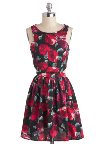Rose Garden Dress - Short, Red, Multi, Floral, Cutout, Exposed zipper, Party, A-line, Sleeveless, Prom, Press Placement, Top Rated