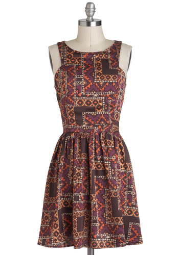 Boulder is Beautiful Dress - Short, Print, Casual, Folk Art, A-line, Sleeveless, Multi, Fall, Festival, Boho