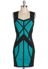 Sky Light's the Limit Dress - Cutout, Girls Night Out, Colorblocking, Bodycon / Bandage, Short, Black, Sleeveless, Green