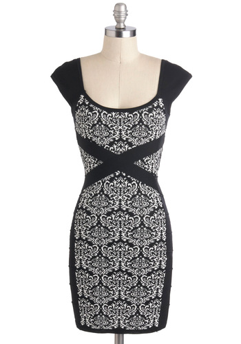 Out on the Crown Dress - Black, White, Print, Girls Night Out, Bodycon / Bandage, Short, Cap Sleeves