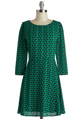 Geometry House Dress - Black, A-line, Long Sleeve, Print, Mid-length, Green, Casual