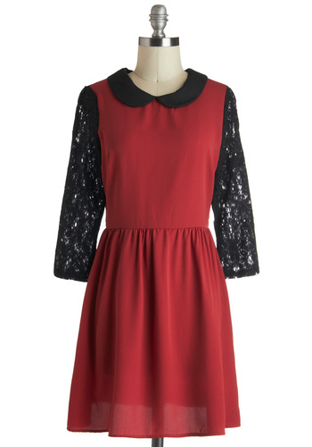 Bisqued Away Dress - Red, Black, Lace, Peter Pan Collar, Party, A-line, 3/4 Sleeve, Collared, Sheer, Mid-length, Vintage Inspired