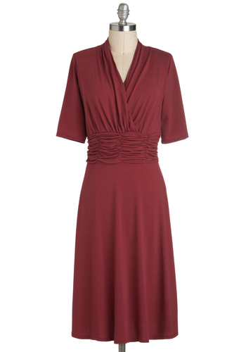 Leave 'Em Speechless Dress - Long, Red, Solid, Ruching, Short Sleeves, V Neck, Cocktail, Minimal, Holiday Party, Party