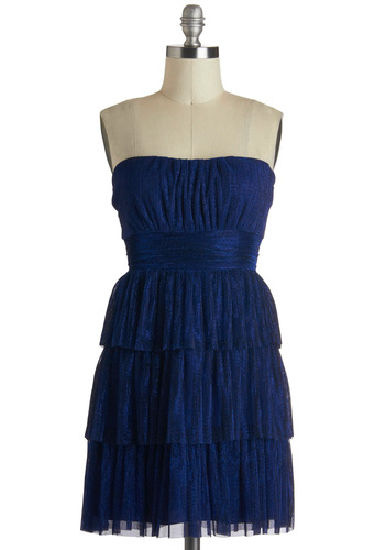 Wish You Were Tier Dress - Blue, Strapless, Tiered, Short, Solid, Prom, Party, Formal
