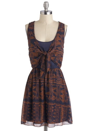Copper Canyon Dress - Sheer, Short, Brown, Blue, Print, Casual, A-line, Sleeveless, Folk Art, Scoop