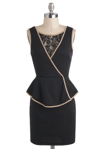 Chic Your Mind Dress - Black, Lace, Trim, Cocktail, Peplum, Sheer, Short, Tan / Cream, Sleeveless, Prom